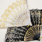"9"" Blk & White Fabric Lace Fan w/Metallic Design  12 per pk @ .54 ea"