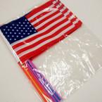 """CLOSEOUT 6"""" X 7.5"""" USA Flag on Colored Stick 12 pk @ .12 ea"""