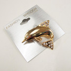 "1.5"" Dolphin Gold Broach w/ Crystal Stones  12 per pk @ .50 ea"