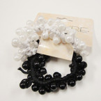 2 Pack Blk & White Pearl Beaded Ponytailers .48 per set