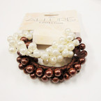 2 Pack Brown & White Pearl Beaded Ponytailers .48 per set