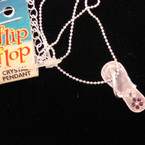 Fine Silver Necklace w/ Crystal Stone Lavender Flip Flop Pend 7 pk @ .50 ea
