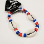 Cowrie Shell Bracelet w/ Puerto Rico Color Beads .50 ea