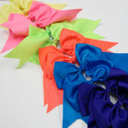 "6"" X 8"" Neon Color Mix Gator Clip Bow w/ Tails .54 ea"