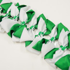 "6"" Two Tone Green & White Gator Clip Bows .45 ea"