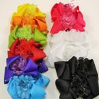 "4"" Asst Color Gator Clip Bows w/ Flower & Pearls .54 ea"