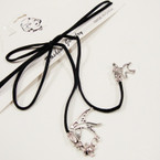 Trendy Black Cord Lariat Choker Necklace w/ Silver Dove Charms .54 ea