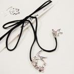 Trendy Black Cord Lariat Choker Necklace w/ Silver Dove Charms .54 ea