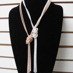 "30"" Gold & Silver Chain Necklace w/ Center Knot .54 ea"