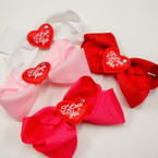"4.5"" Valentine Gator Clip Bow w/ I Love You Heart 24 pk @ .30 ea"