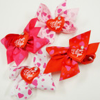 "3"" Valentine Gator Clip Bow w/ I Love You Heart 24 pk @ .27 ea"