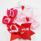 "5"" 4 Color Heart Ribbon Gator CLip Bows .54 ea"