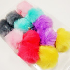 "3"" Faux Fur Fashion Keychain/Purse Charm Asst Lite Colors .57 ea"