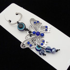 "2"" Silver Cry. Stone Butterfly Keychain w/ Eye Beads .54 ea"