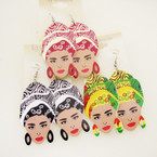 "2.5"" Asst Color African Lady Wood Fashion Earrings .54 ea"