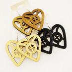 """2.5"""" Woodtone Color Heart Fashion Earrings   .52 ea"""