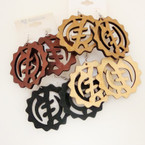 "2.5"" Woodtone Color Round Fashion Earrings w/ Chinese Sign   .52 ea"