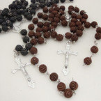 "36"" 8MM Rose Bead Rosary w/ Silver Cross w/ JESUS .54 ea"