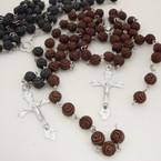 """36"""" 8MM Rose Bead Rosary w/ Silver Cross w/ JESUS .54 ea"""