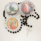 "36"" Scented All BLK  Bead Rosary w/ Silver Cross w/ JESUS in Keepsake Bx.54 ea"