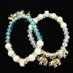 Crystal Bead & Pearl Bracelet w/ Gold & Silver Elephant Charms .54 ea