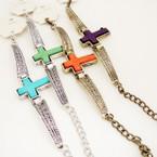 Cast Gold & Silver Cross Bracelet w/ MBL Stone .56 ea