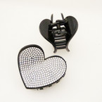 "2.75"" Black Heart Jaw Clip w/ Clear Crystals .54 ea"