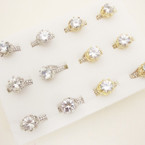 Gold & Silver Crystal Stone Fashion Rings .54 ea