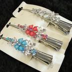 """5"""" Silver Salon Clip w/ Colored Stones (40) .54 ea"""