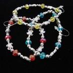 Crystal Bead & Silver Turtle Stretch Bracelets .54 ea