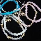 2 Pk Crystal & Bead Bracelet w/ Elephant Charms .54 ea