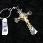 "3"" Metal Two Tone Jesus Crucifix Keychains .54 ea"