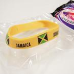 Silicone Jamaica Flag  Band Bracelets 12 per pk @ .21 ea
