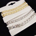 2 Pack Heavy Link Chain Gold & Silver Bracelets .54 per set
