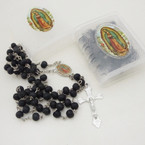 """36"""" Scented Wood Bead Guadalupe Rosary All Black in Bible Case .54 ea"""