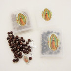 """36"""" Scented Wood Bead Guadalupe Rosary Blk/Browns in Bible Case .54 ea"""
