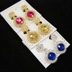 Elegant CLIP ON  Crystal Stone Earrings w/ Gem Stone .54 ea