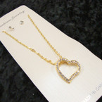 Gold Chain Neck Set w/ Crystal Stone Heart Pendant .56 per set
