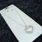 Silver Chain Neck Set w/ Crystal Stone Heart Pendant (177S)  .56 per set