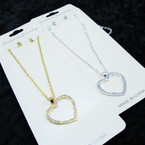 Silver & Gold Chain Neck Set w/ Crystal Stone Heart Pendant (37) .56 per set