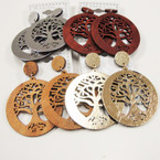 "2"" Tree of Life wood Earrings Gold,Silver & Woodtones .54 ea"
