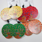 "2.25"" Asst Color Big Hair Fashion Wood Earrings .54 ea"