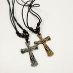DBL Leather Cord Necklace w/ Gold & Silver Crosses w/ JESUS .50 ea