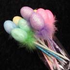 """8"""" Sparkle Egg Easter Pens w/ Fur Asst Colors 12 per unit  .55 ea"""