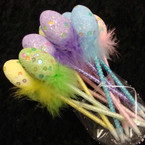 "8"" Sequin Egg Easter Pens w/ Fur Poka Dots 12 per unit  .55 ea"