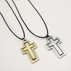 Black Leather Cord Necklace w/ Brushed Finish Gold & Silver DBL Cross .54 ea