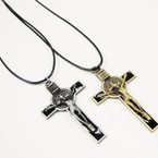 Black Leather Cord Necklace w/  Gold & Silver Crucifix .54 ea
