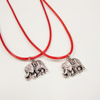 Red Leather Cord Necklace w/ Cast Metal Elephant Pend.  24 per pack .33 ea