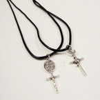 Leather Cord Necklace w/ Cast Metal Crosses .2 styles 24 per pack .33 ea