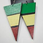 """3"""" Triangle Rasta Color Fashion Earrings .52 ea"""